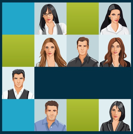 Template with a group of business and office people photos  Vector Icons   Stock Vector - 18031946