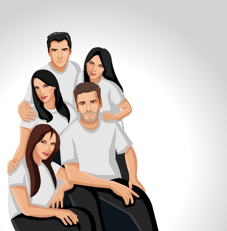 Group of people wearing white clothes Vector