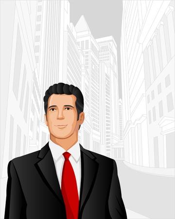 m�nner business: Man tr�gt Anzug mit Stadt auf dem Hintergrund Illustration