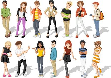 Groep gelukkige cartoon jongeren Stock Illustratie