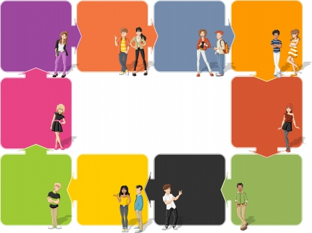 redhead woman: Colorful template for advertising brochure with cool cartoon young people Illustration