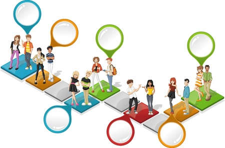 step: Colorful template for advertising brochure with cool cartoon young people over path Illustration