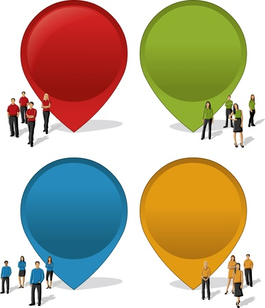 Colorful pointers with business people  arrow label  Vector