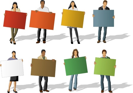 campaigns: Business people holding colorful cards   boards