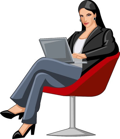Business woman on chair with laptop Vector