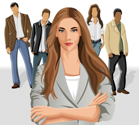 happy client: Business woman wearing gray suit with office people on the background