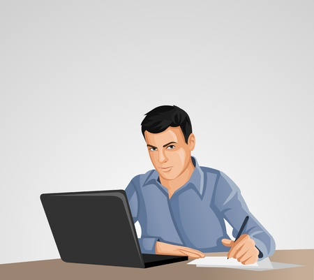 man using computer: Man wearing blue shirt using laptop computer