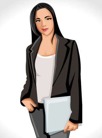 Business woman wearing black jacket Vector
