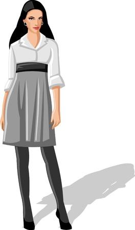 secretary office: Business Woman wearing white shirt and skirt