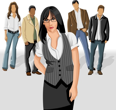happy client: Business woman wearing gray vest with office people on the background