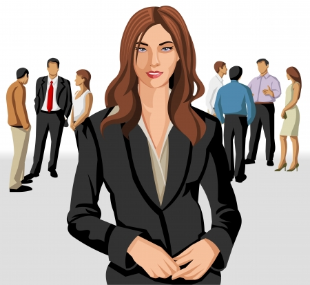 team leader: Business woman wearing gray vest with office people on the background
