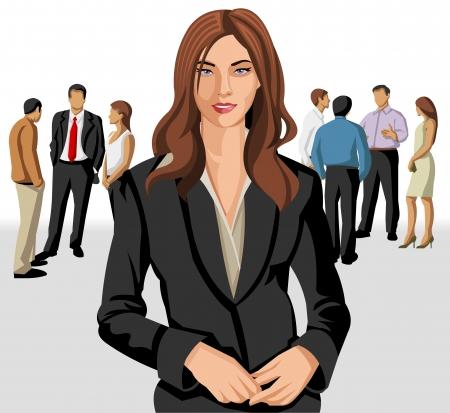 teamleider: Zakelijke vrouw draagt een grijze vest met kantoor mensen op de achtergrond Stock Illustratie