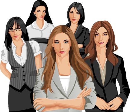 business woman: Group of five beautiful business women