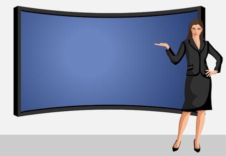 Business vrouw draagt zwart pak met presentatiescherm Vector Illustratie