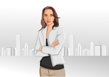 Woman wearing white shirt with city on the background