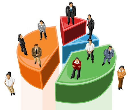 Group of business people over chart Vector