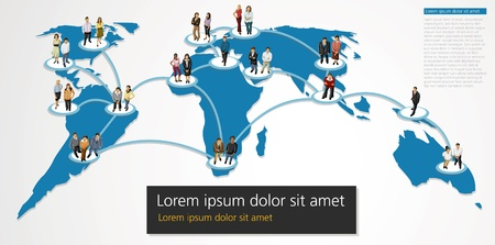 global work company: Connected people over earth globe. Social network.