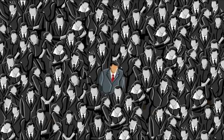 folla: L'uomo in piedi fuori da una folla