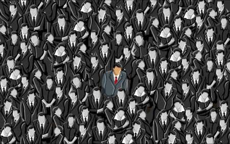 alone in crowd: Man standing out from a crowd