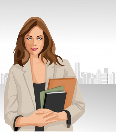 Woman holding files with city on the background Vector