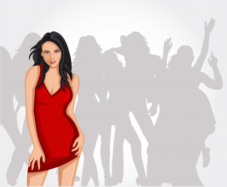 Beautiful brunet woman partying in red dress Vector