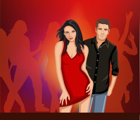partying: Beautiful brunet woman and man partying in red dress