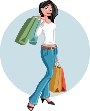 Una bella ragazza cartone animato holding shopping bags Vettoriali