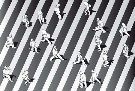 equal: Group of black and white people crossing street