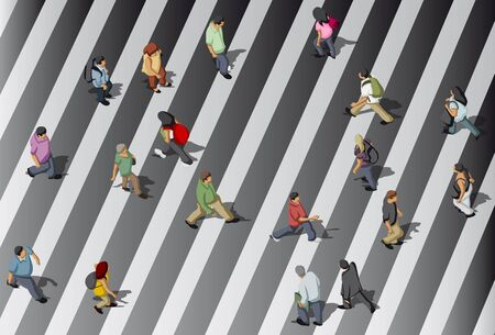 busy city: Group of people crossing street