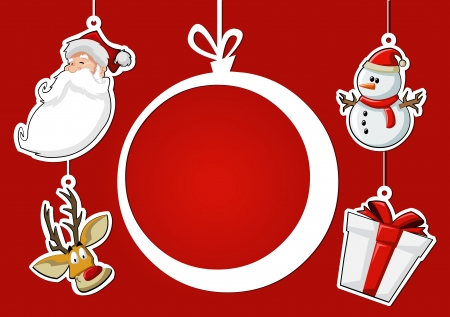 Labels of christmas ball, Santa Claus, reindeer, snowman, and gift Vector
