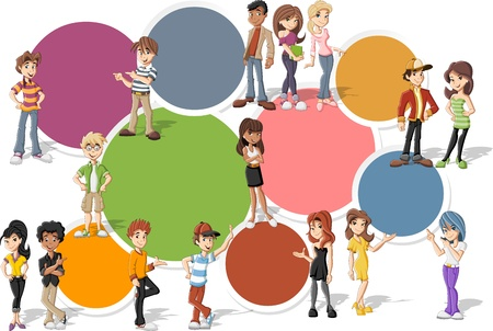 Colorful template for advertising brochure with cool cartoon young people. Teenagers. Vector