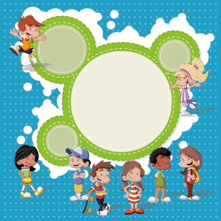 youth sports: Colorful template for advertising brochure with a group of cute happy cartoon kids playing Illustration