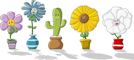 Colorful cartoon flowers in vases Vector
