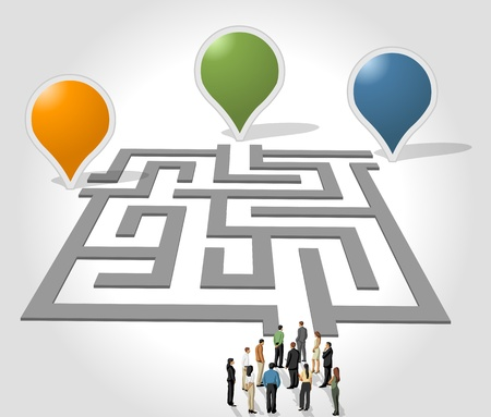Labyrinth   maze concept with business people Stock Vector - 18452312