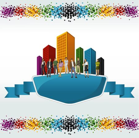 coworker banner: Template with a group of business people in front of a colorful city landscape  Illustration