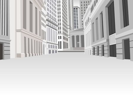 downtown district: Street of downtown financial district in New York Illustration
