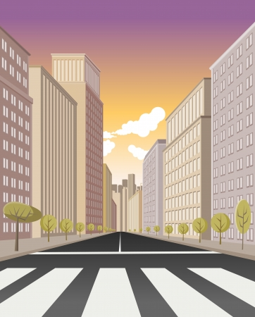 lanes: Pedestrian crossing on the street of downtown city with buildings Illustration