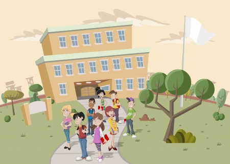 Teenager students in front of school. Vector