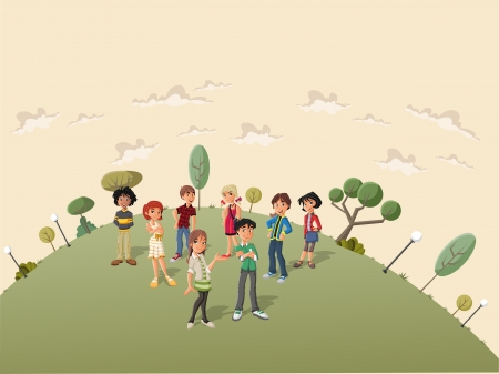 Teenager students in the street of a retro suburb park Vector