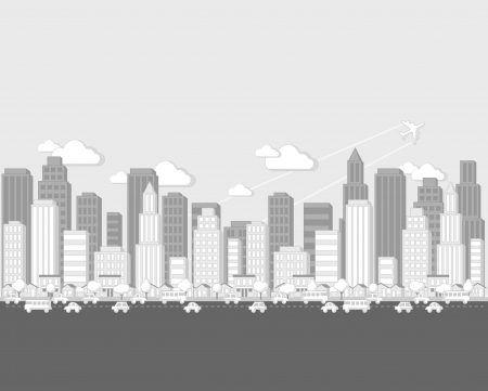 Black and white cartoon city landscape Vector