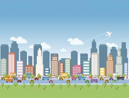 근교: 큰 다채로운 만화 도시 풍경