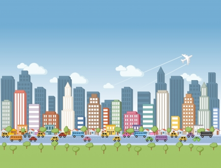 Big colorful cartoon city landscape Vector