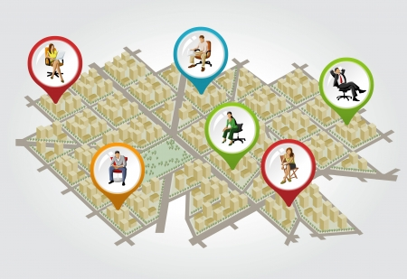 real state: Isometric city map with colorful pointers with people on chair. Vector arrow label.