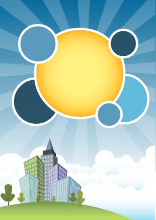 cartoon building: Template for advertising brochure with city and blue sky Illustration