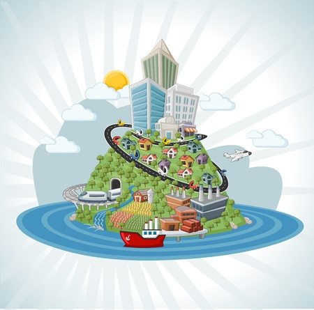 Colorful cartoon city with roads, building, cars, airplane, ship.