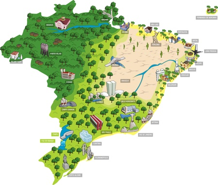 amazon river: Map of Brazil with all capitals. Cities of Brazil. Illustration