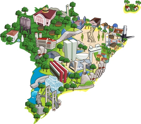 brasilia: Map of Brazil with all capitals. Cities of Brazil. Illustration