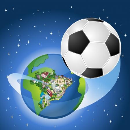 Globe terrestre avec un ballon de soccer qui sortent du Brésil. Brésil coupe du monde de football.