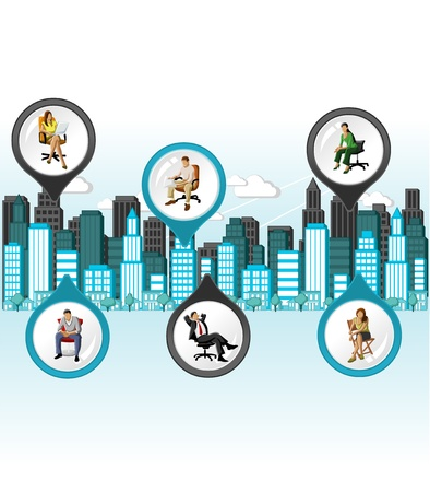 City with people on chair. Vector arrow label. Stock Vector - 18452464