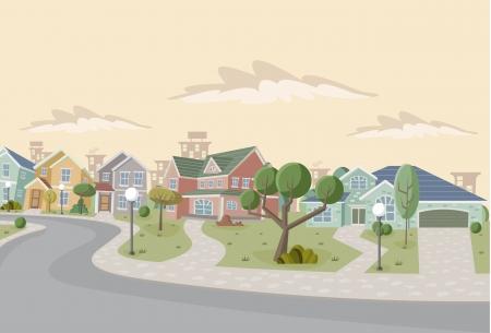 Kleurrijke retro voorstad buurt. Cartoon stad. Vector Illustratie